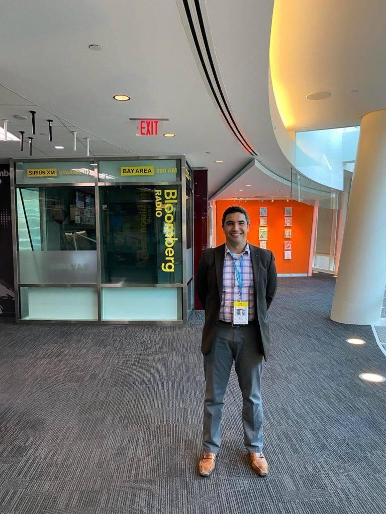 Eric Skeens standing in Bloomberg World Headquarters